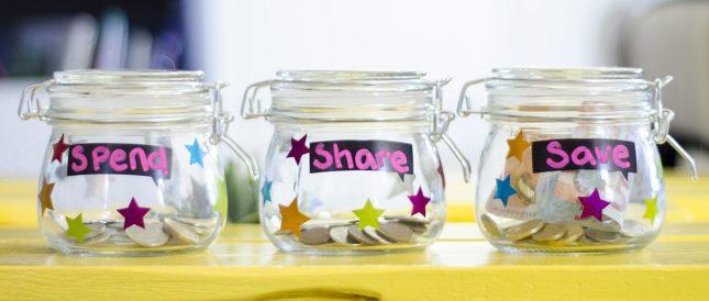 Spend, Save, Share Jars - Money Skills for Kids
