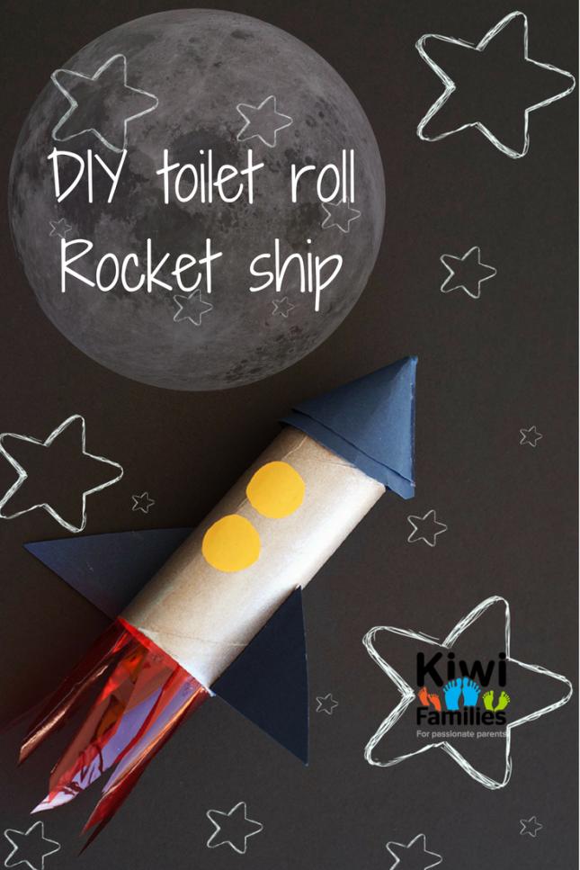 DIY toilet roll rocket ship pin