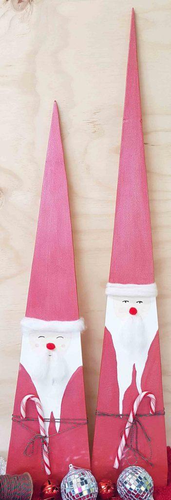 Candy cane wooden Santa 1