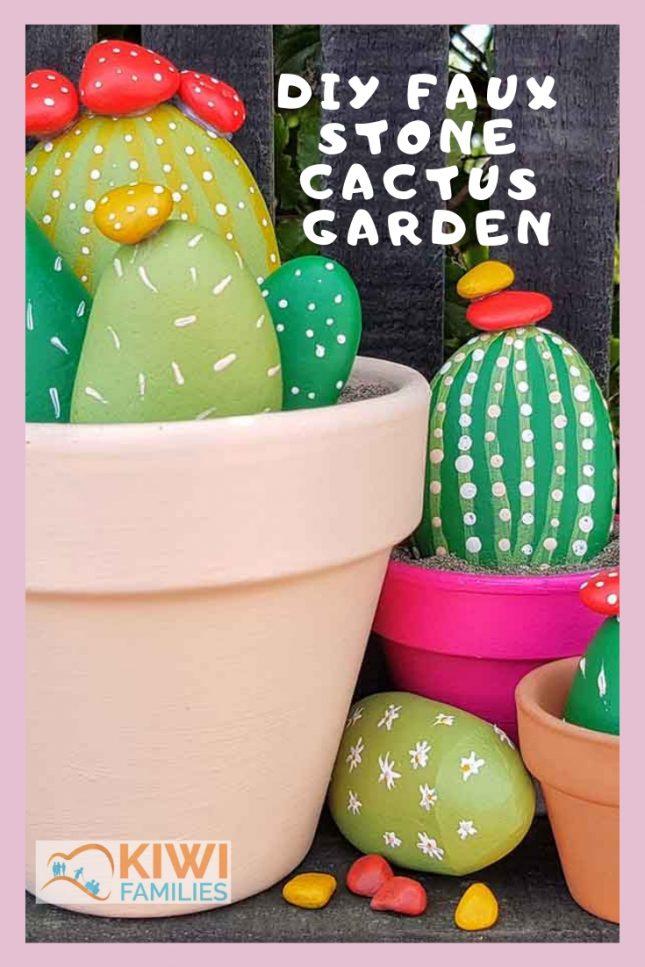 DIY Faux stone Cactus Garden