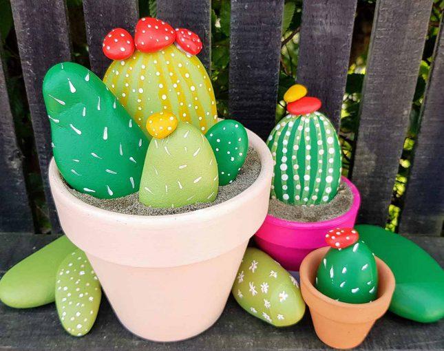 DIY rock cactus painted topdown