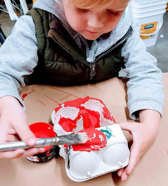 Egg carton fire truck Resene Candyfloss