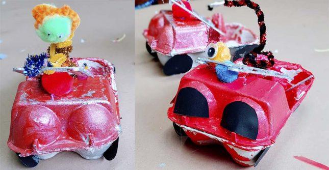 Egg carton fire truck kids