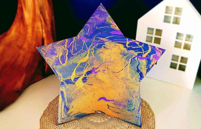 Matariki star acrylic pours