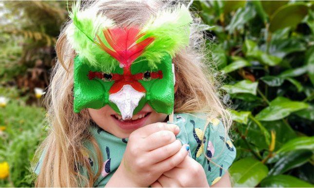 Egg Carton Crafts - Kākāriki Masquerade Mask