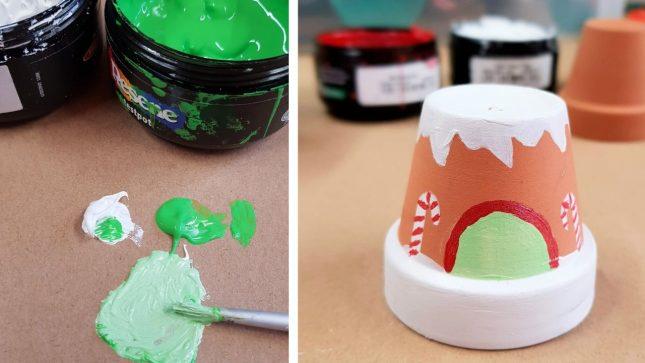 DIY Clay Pot Christmas Craft door