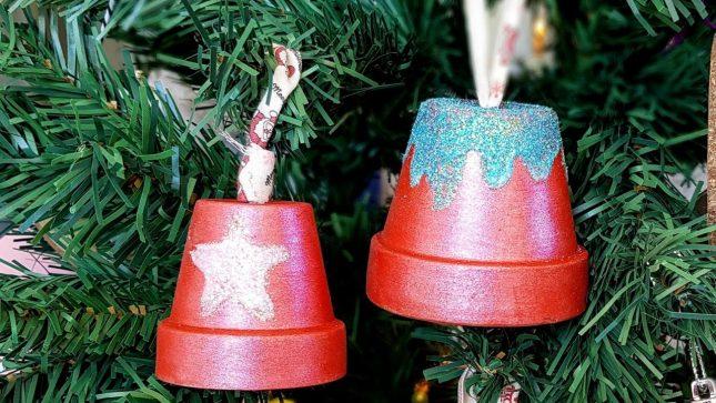 DIY Clay Pot Christmas Craft door star and snowbell