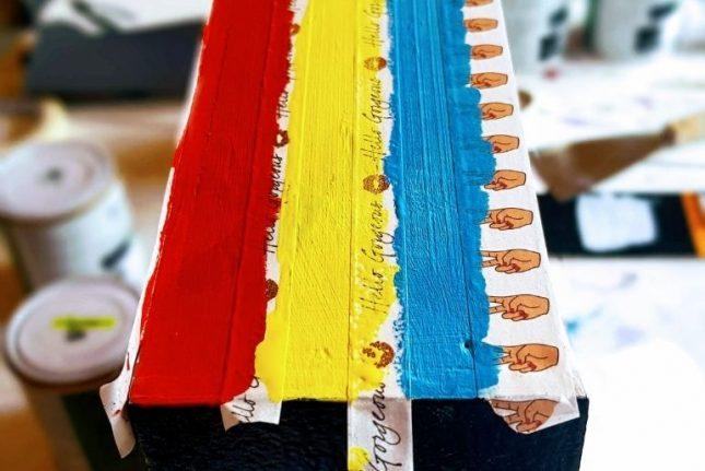 Upcycled Dressing Table Washi Tape rainbow